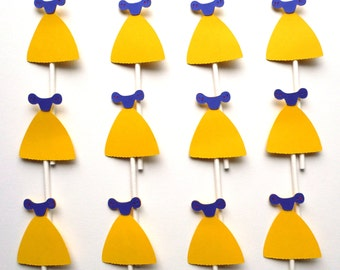 12 Snow White Themed Dress Cupcake Toppers Disney Princess Themed Birthday Party Decoration