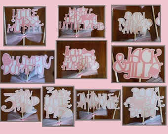 Pink and White Nursery Rhyme Themed Party Centerpiece Sticks Set of 10