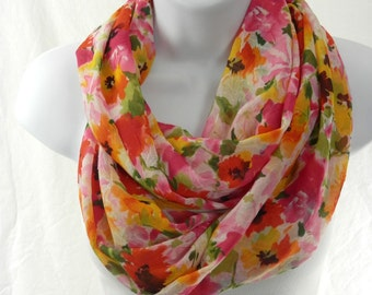 Summer Flower Infinity Scarf Poppy Red, Sunny Yellow, Watermelon Pink, Orange and Green Double Loop Scarf by Thimbledoodle