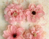 "Pink Burlap Flowers -Set of 4 fabric flowers 2""  blossoms 1200-211 headband flowers hat rustic flowers wedding decorations scrapbooking"