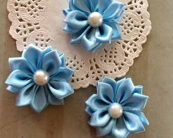"""Small Light Blue Flowers (6 pcs) - 1.5"""" Petite Satin ribbon flowers with pearl centers flower embellishment - Sweetheart accent flowers DIY"""