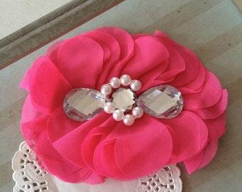"Hot Pink Fushia Chiffon Fabric flower with Rhinestone beaded center headband hair flower  4.5"" applique embellishment - Dress applique Lorna"