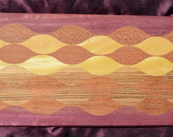 "Unique Made in the USA Exotic Hardwood Kitchen Cutting Board Multicolor 12""x20 3/4""x 1"" Five Differnt Color Woods"
