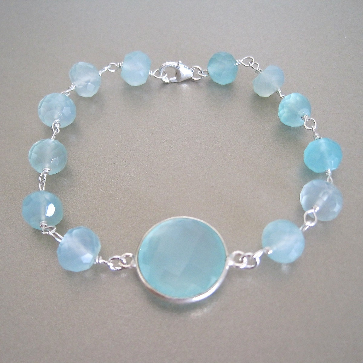 aqua silver chalcedony bracelet by tangerinejewelryshop on