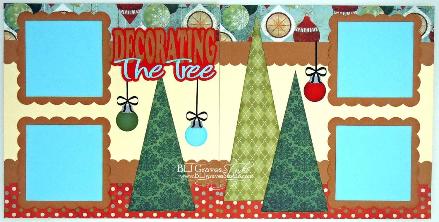 2 Premade Scrapbook Pages 12x12 Layout Paper Piecing Christmas