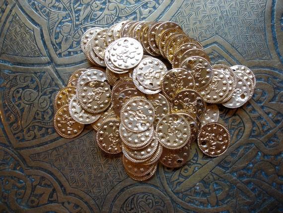 """100 medium  bronze aluminum coins  5/8"""" or 15 mm"""