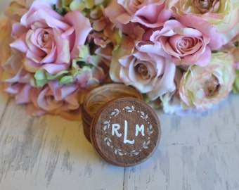 Personalized Wedding Ring Box Keepsake or Ring Pillow Alternative With Burlap Pillow. Your choice of Color. Ships Quickly.