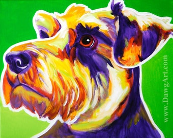 Miniature Schnauzer, Pet Portrait, DawgArt, Dog Art, Schnauzer Art, Pet Portrait Artist, Colorful Pet Portrait, Schnauzer, Art Prints, Art
