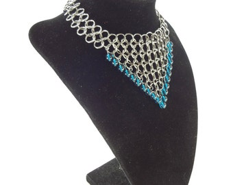 Chainmaille Necklace With Blue Green Glass Beads