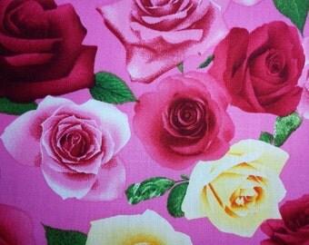 Big roses, pink, fat quarter, pure cotton fabric