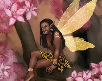 Copper ACEO - African Fairy with Impala Lily Flowers Fantasy SFA Small Format Art Print - Brandy Woods