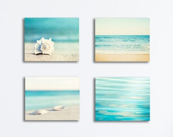 Aqua Blue Beach Canvas Set, four 4 piece ocean wall art print beige cream white coastal photography gallery wrap nautical canvas seaside set