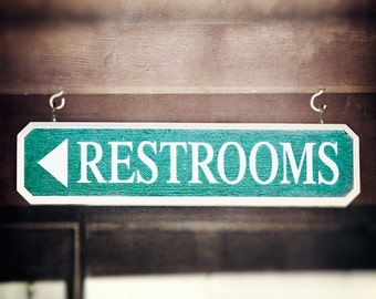"Bathroom Photography - brown teal turquoise aqua bath room restroom modern wall art dark sign white word quote photography, ""Restrooms"""