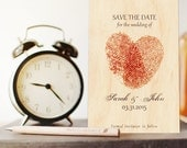 Wooden Save-the-Date Card, Fingerprint Invitations, Rustic  wedding invitation sample, Romantic, Nature, Country wedding