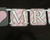 From Miss to Mrs banner, engagement banner, bridal shower banner, chevron banner, pink and gray banner, custom banner