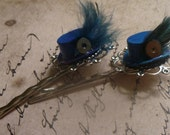 Blue Top Hat w Gear and Feather Bobby Pins Steampunk Style Set of 2