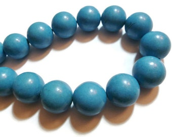 Blue Turquoise - Magnesite - 22mm Round - 20 beads - Full Strand