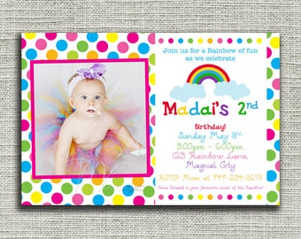 Rainbow Birthday Invitation, Polka Dots Rainbow Birthday Invite, Rainbow Polka Dots Birthday Invite-Digital File You Print