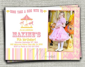 Carousel Birthday Invitation, Carnival Birthday Invitation, Carousel Carnival Birthday Invite-Digital File You Print