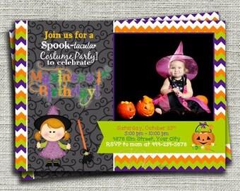 Girl Halloween Birthday Party Invitation, Halloween Witch Costume Party Invitation, Kids Halloween Birthday Invitation, Halloween Photo