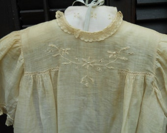 Antique Baby Christening Gown 1900's Beautiful embroidery Antique Netted Laces Antique Pearl Shell Buttons Pulled Thread Work Heirloom Baby