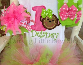 Monkey birthday outfit for first birthday -- tutu, bodysuit, leg warmers, Over The Top bow/headband in pinks and lime green
