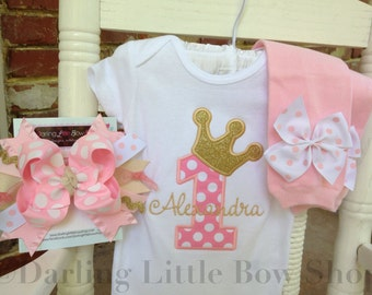 Baby Girl First Birthday Outfit -- Royal Princess -- bodysuit, leg warmers, Over The Top bow in pink and gold