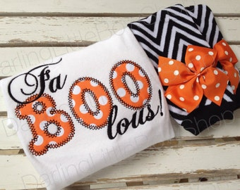 Baby Girl Outfit for Halloween -- Fa BOO lous -- Leg warmers and Bodysuit -- black and orange polka dot with black chevron