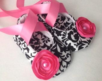 Black & White Damask Baby Ballerina Shoes