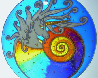 Rebirth of the Unicorn, Stained Glass, Handpainted, Window Ornament