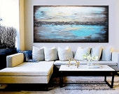 "ART PRINT Abstract Painting Blue Giclee Print Modern Large Canvas Urban Aqua Brown White City Home Wall Decor xl sizes up to 60"" -Christine"