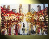 """GICLEE PRINT Art Abstract Painting Couple City Park Dance Modern Canvas Prints Urban Grey Red Home Wall Decor LARGE sizes to 60"""" -Christine"""