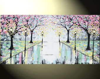 "Art GICLEE PRINT Abstract Painting Pink Cherry Trees Canvas Prints Grey Yellow White Landscape Wall Decor X LARGE sizes up to 60"" -Christine"