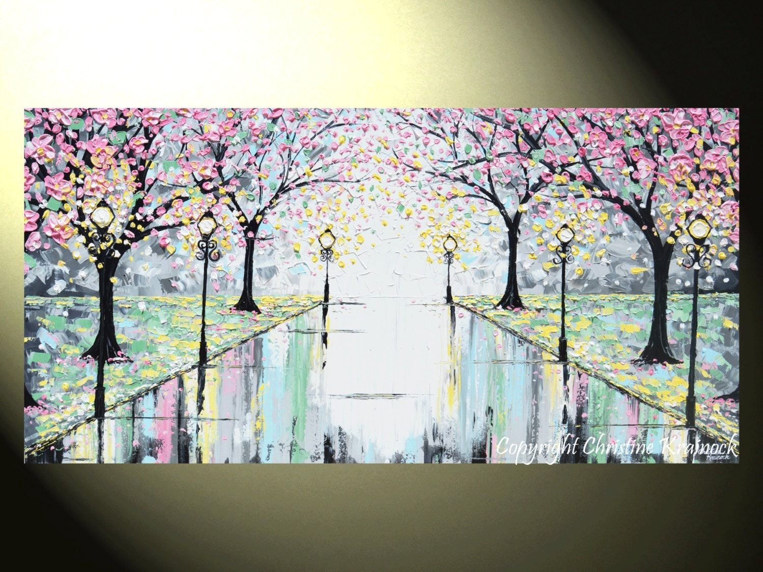 Art GICLEE PRINT Abstract Painting Pink Cherry Trees Canvas