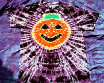 Tie Dye Pumpkin Jack O Lantern Halloween T Shirt Adult Sizes