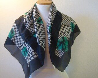 Large Square Black Green Leaf Scarf  Italy