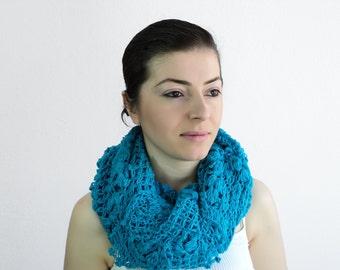 Winter Sale - Blue Crochet Shawl- Sky Blue Bridal Shawl - Blue Triangle Bridal Wrap - Blue Crochet Scarf for Winter, ready to ship