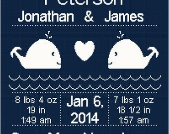Nautical/Whale Birth Record/ Announcement For Twins Wall Art Cross Stitch Pattern