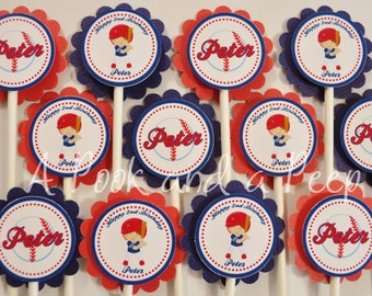 Custom Baseball Player Personalized Cupcake Toppers / Picks