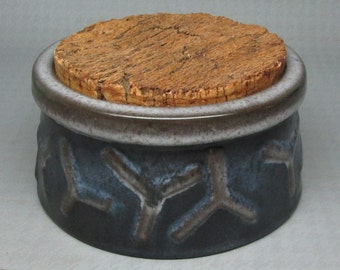 UPSALA EKEBY pottery piece with cork lid , sweden , mid-century modern