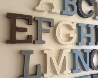 Full Wooden Alphabet - Hand Painted Wooden Letters Set - 26 letters - 15cm high