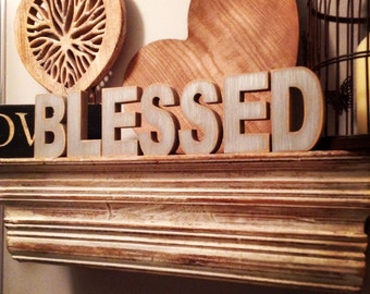 Wooden Letters - Free-standing - Ariel Font - 20cm - BLESSED
