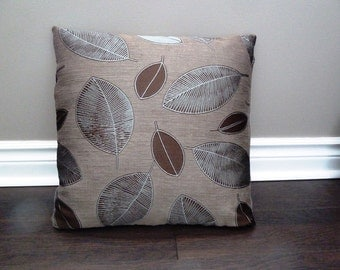 Leaf print brown and soft blue Pillow cover