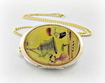 Vintage Cameo Locket Pendant Necklace, Artist FRAN NOR Portrait, Colonial Children and Liberty Bell Folk Art, 1970s Patriotic Jewelry