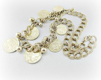 Vintage Gold Bib Statement Necklace, Gold Greek Coin Necklace, ALEXANDER the GREAT & Horse Chariot Coins, Chunky Gold Chain, 1980s Jewelry