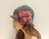 Crochet Cloche Flapper Style Hat - GREY/VITORIAN