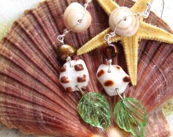 Lau li'i Kai (Small ocean leaf)  Shell Earrings