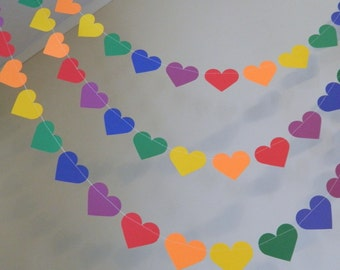 Rainbow Paper Heart Garland /10ft / Wedding Decor / Kids Birthday Decor / rainbow Party Decor- You color and size choice