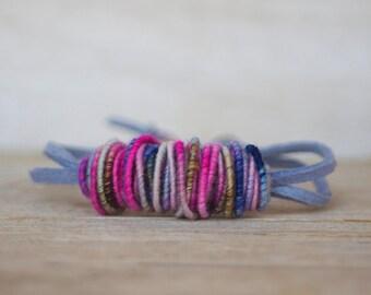 Yarn Bead Bracelet - Copper-Fiber-Bead