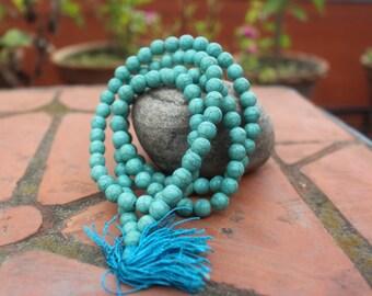 Faux Turquoise Japa Mala-Tibetan Faux Turquoise Japa Mala 108 Prayer Beads